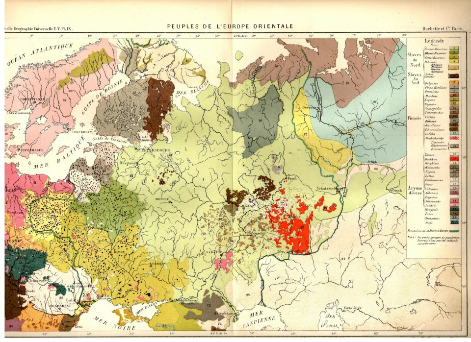 "The Map of Ethnicities of the Eastern Europe (1879) by Hachette & Co, Paris. Note that the map legend shows Ukrainians under the term ""Petits Russiens (3)."""