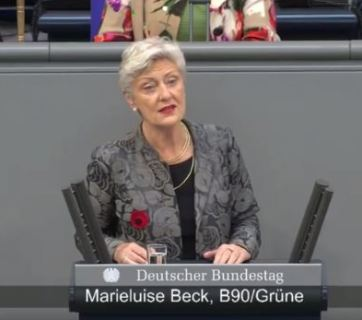 Marieluise Beck, Speaker for Eastern Europe at Germany's Green Party speaks in the Bundestag on 19 May 2017. Photo: snapshot from video