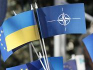 Ukrainian and NATO flag. Illustrative photo