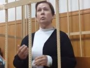 Natalia Sharina, ex-director of the Ukrainian Literature Library, on trial in Moscow. Screenshot from ren.tv video
