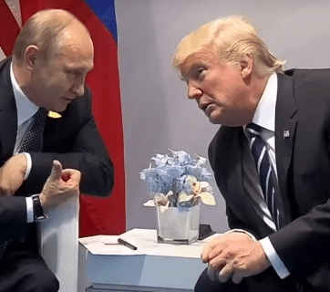 Putin-Trump meeting in Hamburg, Germany in July 2017 (Image: screen capture)