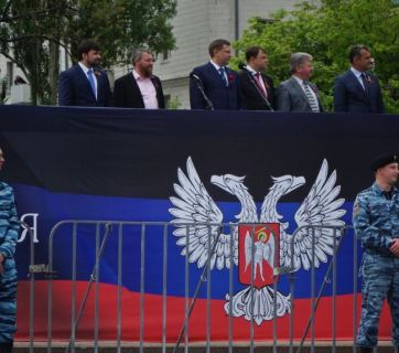 "Celebrations of the anniversary of the so-called ""referendum"" of the ""Donetsk People's Republic"" on 11 May 2015. Photo: RFE/RL"