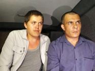 Parlamov, the Crimean Tatar who was abducted and tortured by the FSB (left) with his lawyer Kurbedinov (right) after the forensic examination to document the torture. Photo: Krymr.com