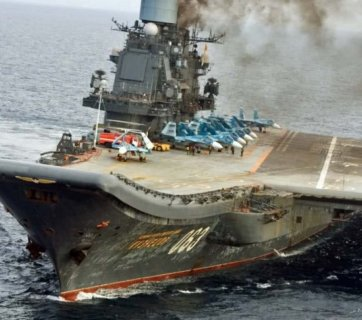 The only Russian aircraft carrier Admiral Kuznetsov on its way to the Mediterranean to participate in Putin's Syrian campaign to crush anti-Assad rebel forces in Aleppo, Syria. (Image: social media)