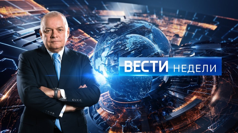 EU-sanctioned Dmitry Kiselev hosts the Vesti Nedeli analytical programme on Rossiya-1. Image: Youtube