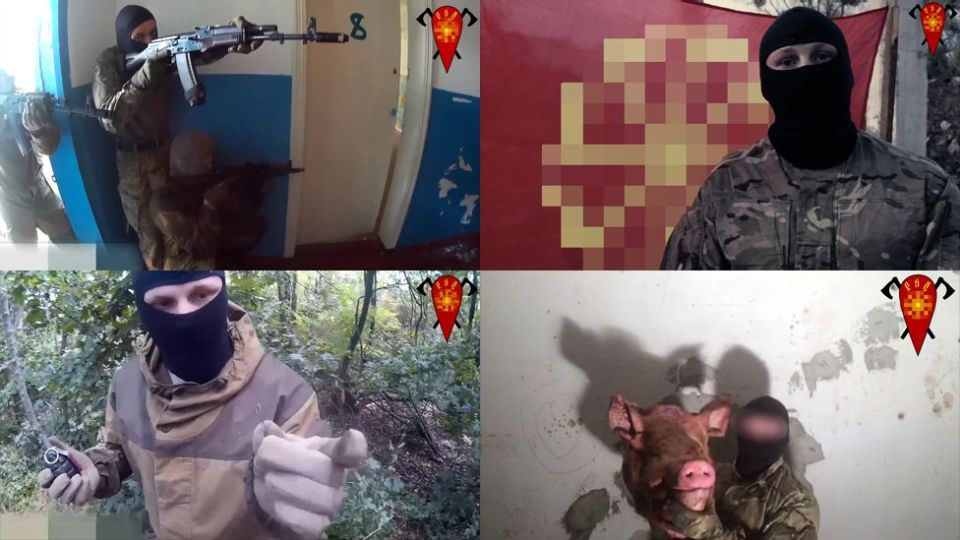 Fake Russian pro-Ukrainian terrorists calling themselves the Russian Liberation Movement. Collage: BBC Russian