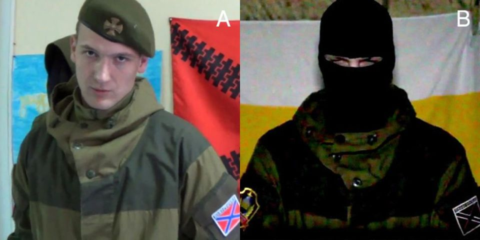 "A: ""Daliant Maksimus"" wearing the ""Gorka"" uniform. B: ""Kharkiv guerilla"" in the same suit with a similar patch. Combined image: BBC Russian"