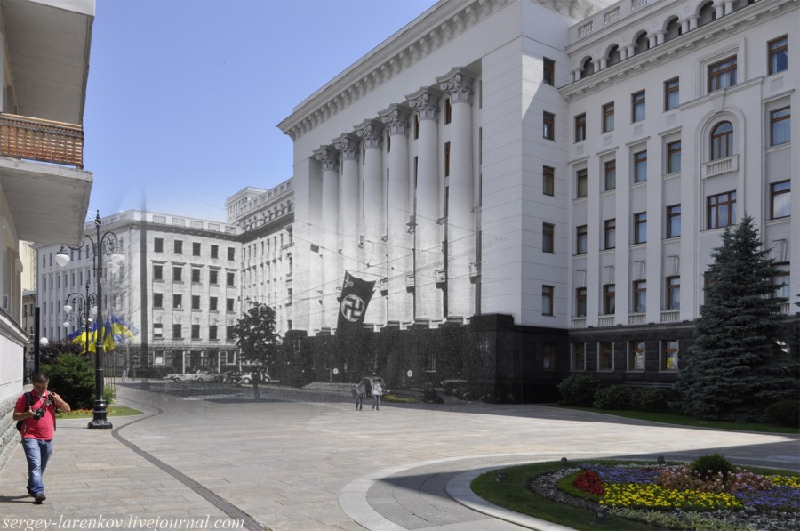 Kyiv 1941/2012. Building of the Presidential Administration of Ukraine. Collage: Sergey Larenkov (Livejournal)