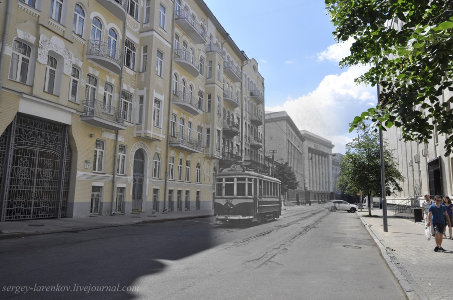 Kyiv 1942/2012 Tram in the occupied city. Collage: Sergey Larenkov (Livejournal)