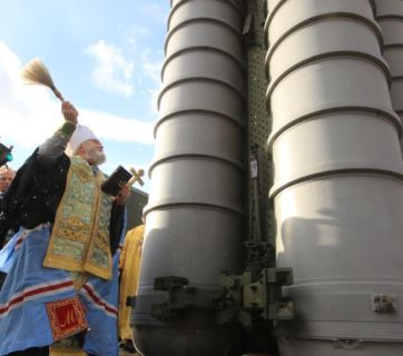 "Occupied Crimea. Primate Platon of the UOC-MP blesses the Russian S-400 anti-aircraft missile system ""Triumph"", deployed in Feodosiya, January 14, 2017"