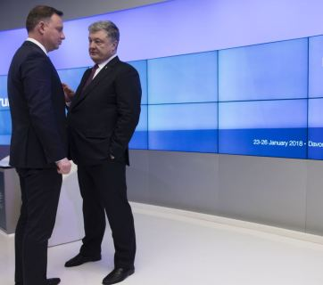 Ukrainian President Petro Poroshenko (right) with Polish President Andrzej Duda (left), Davos, January 2018. Photo: president.gov.ua.