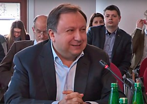 "MP Mykola Kniazhytskyi (People's Front) at the International Symposium ""Three Revolutions – Portraits of Ukraine"", Warsaw, Poland. March 2018. Image: Youtube"