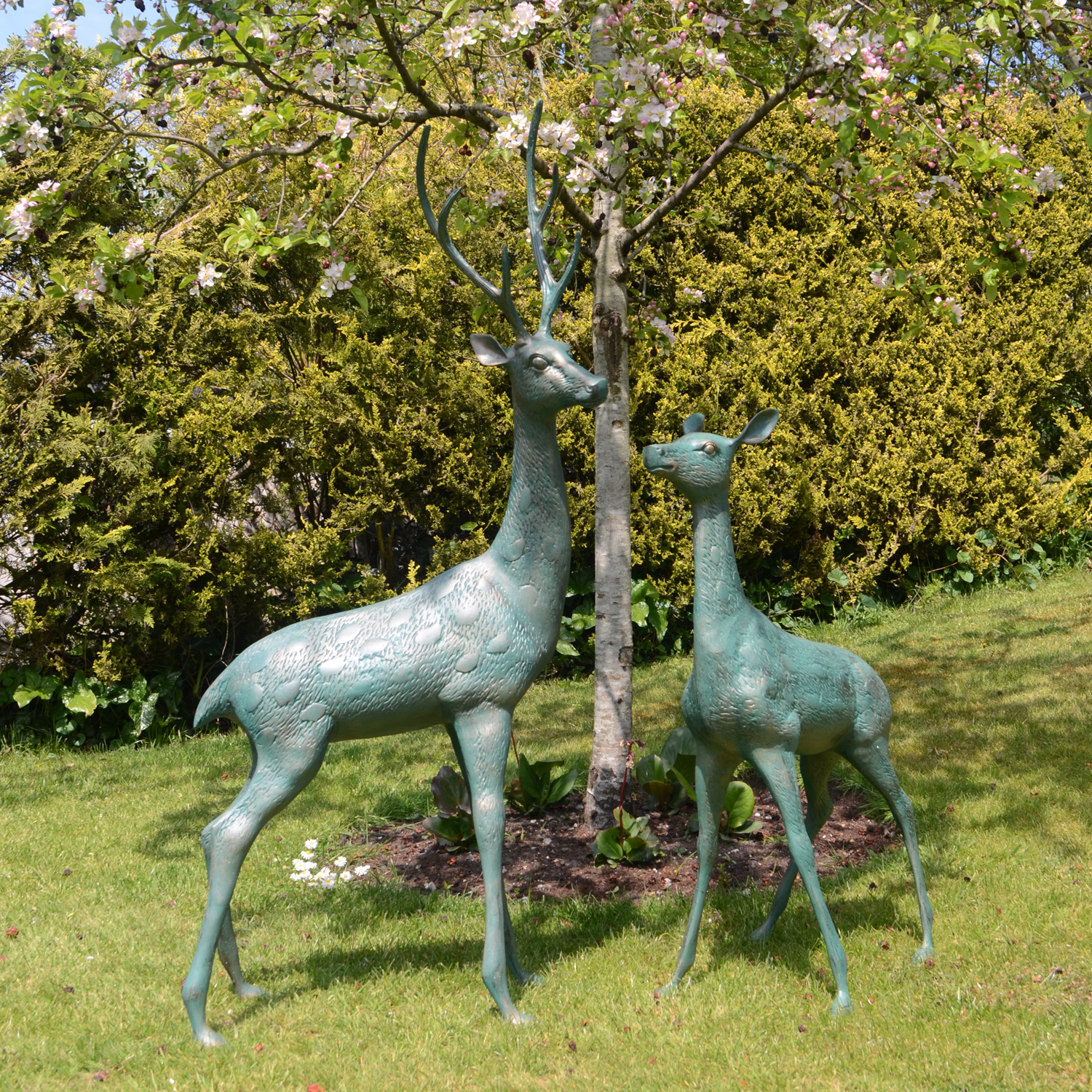 Home Garden Statues Deer Large Pair
