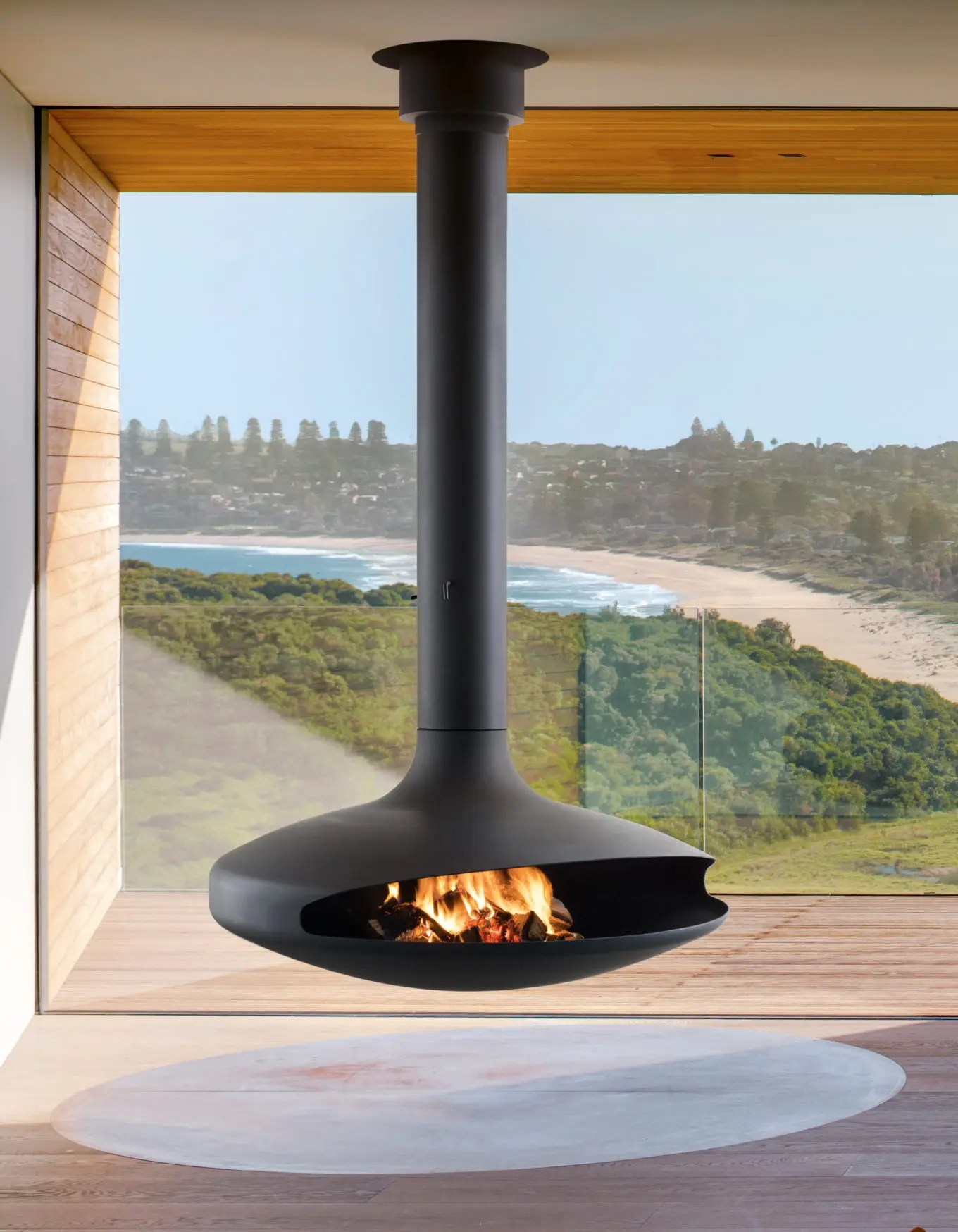 Grenoble Elektrischer Kamin Gyrofocus By Focus Fires Suspended Rotating Fireplace