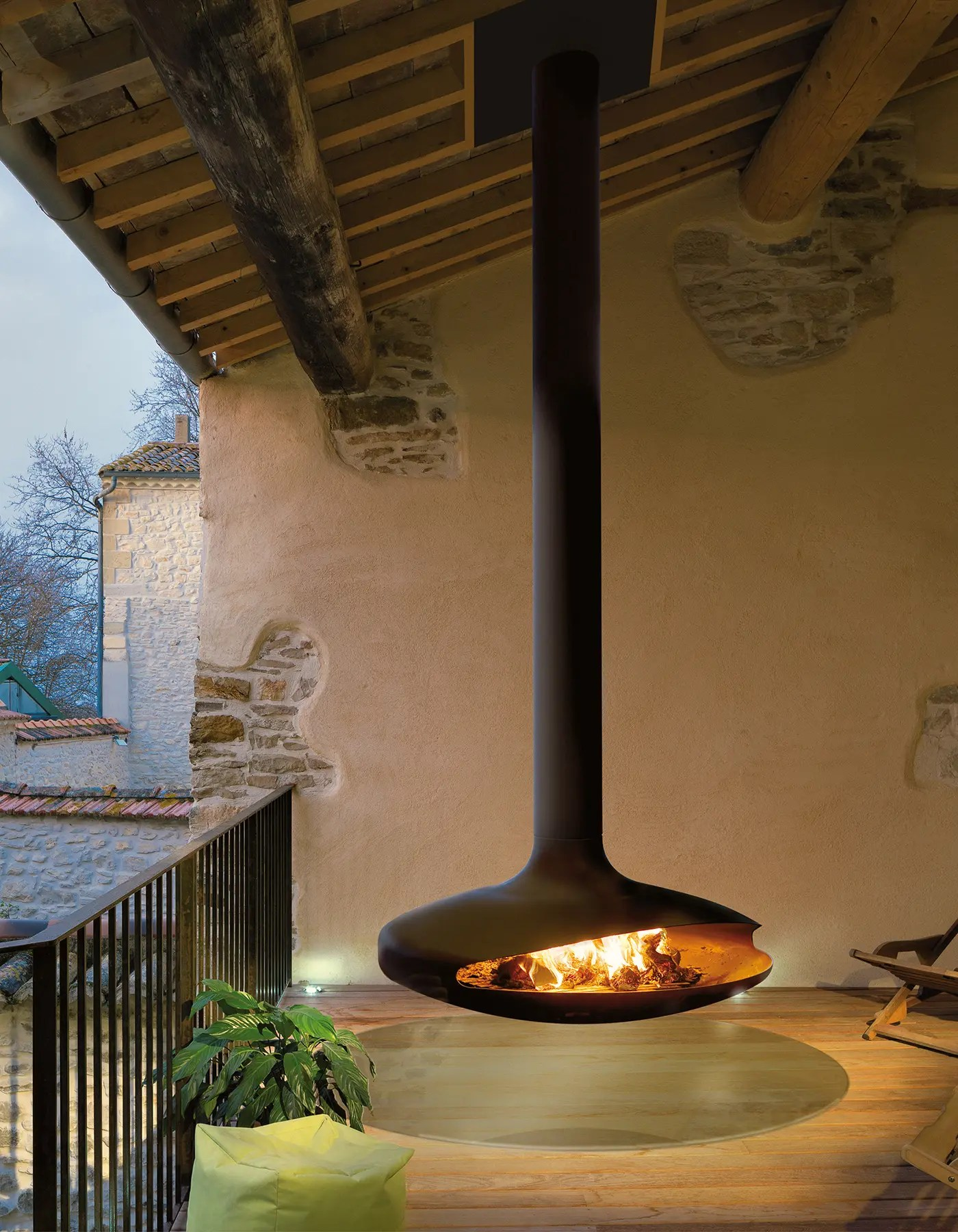 Houzz Electric Fireplace Gyrofocus Outdoor By Focus Fires | Suspended Outdoor Fireplace