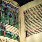 Page of Les Belles Heures illuminated manuscript, in Palazzo Madama museum
