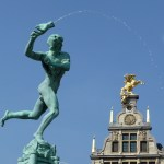 In Antwerp, Statue of the giant's hand being thrown into the Scheldt River.