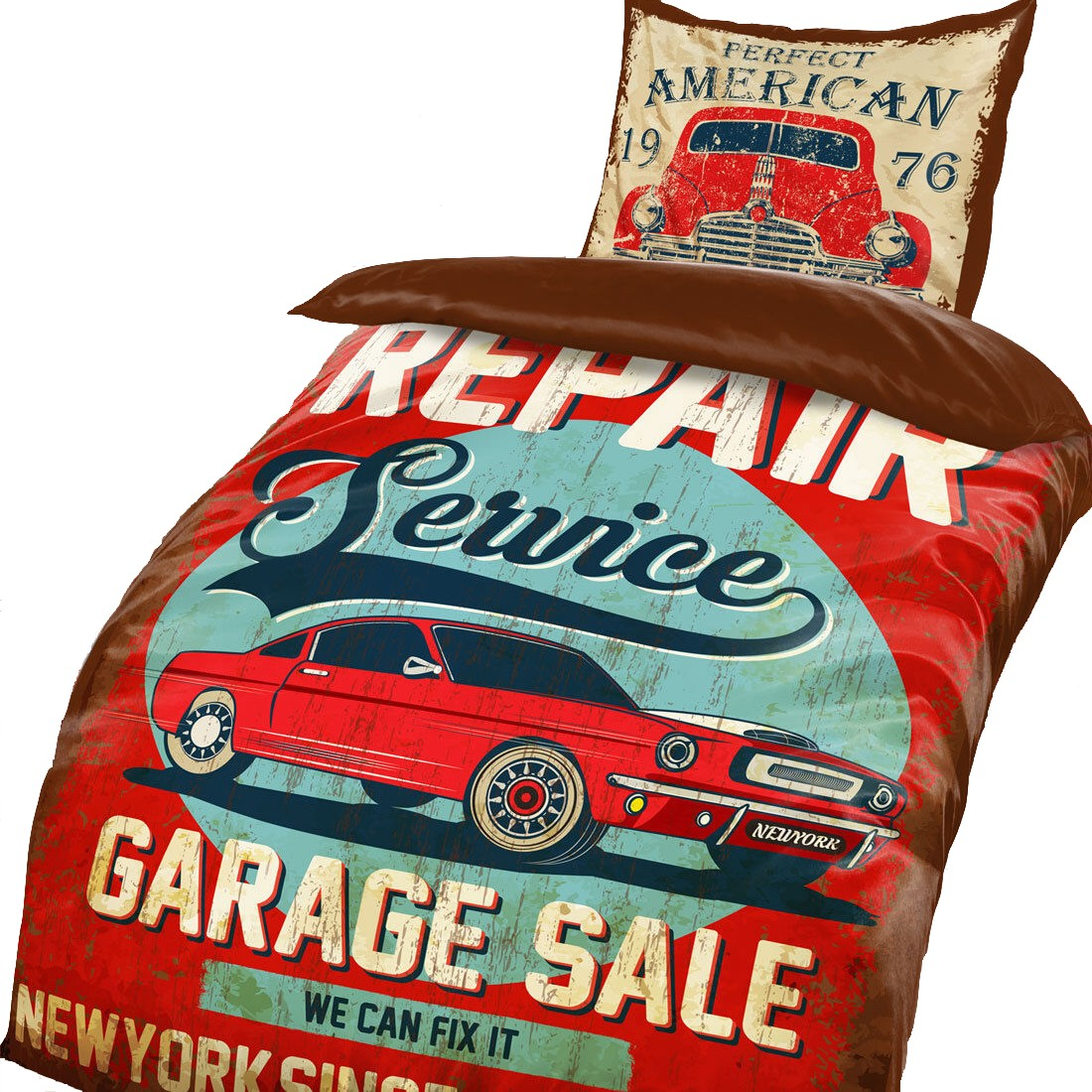 Sale Bettwäsche New York Usa Garage Car Sale Bettwäsche Mikrofaser 135x200cm