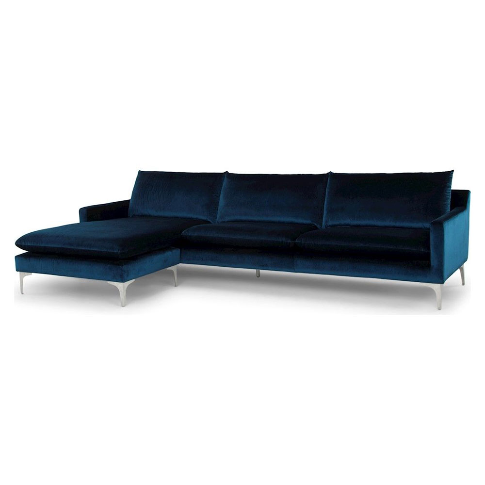 Anders Midnight Blue Sectional Sofa By Nuevo Eurway