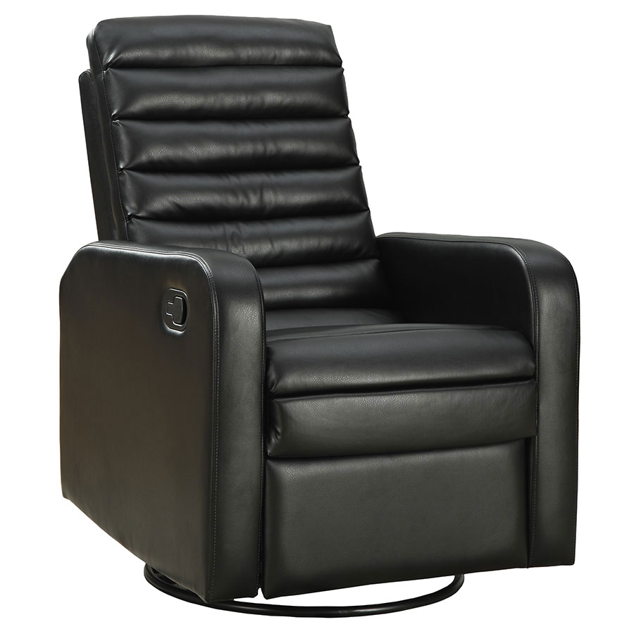 Chair Leather Reclining Swivel Damien Recliner Black