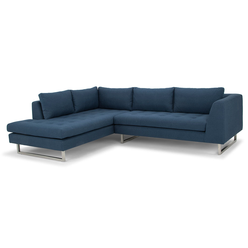 Janis Left Facing Lagoon Blue Sectional Sofa By Nuevo Eurway