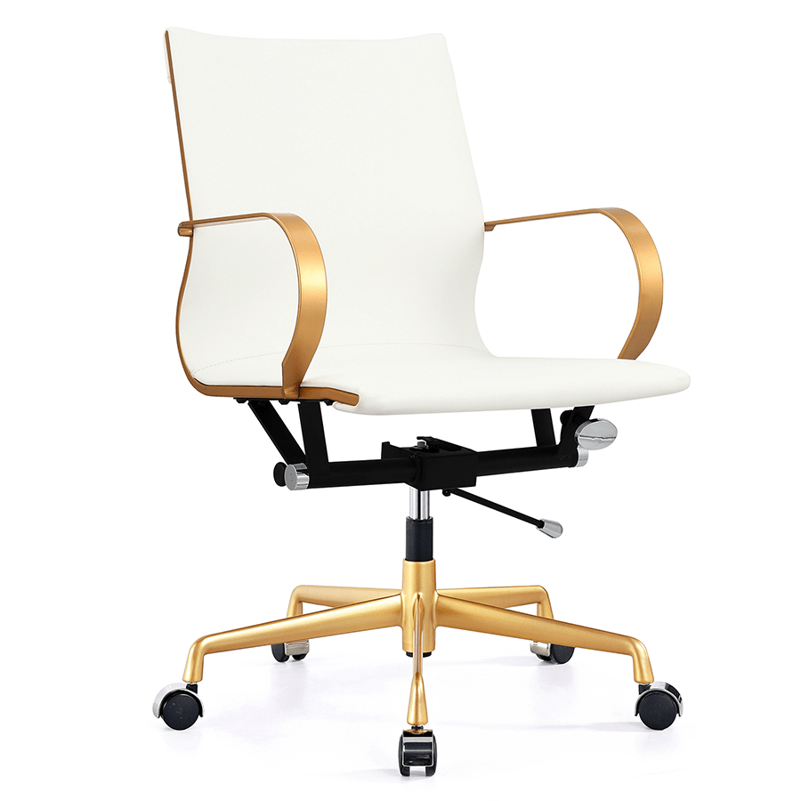 White Desk Chair Wood Malone Office Chair Gold White