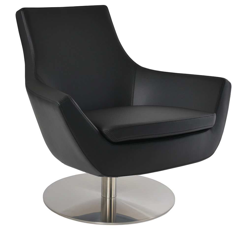 Rebecca Arm Chair Swivel Base Black Leatherette By Sohoconcept Eurway