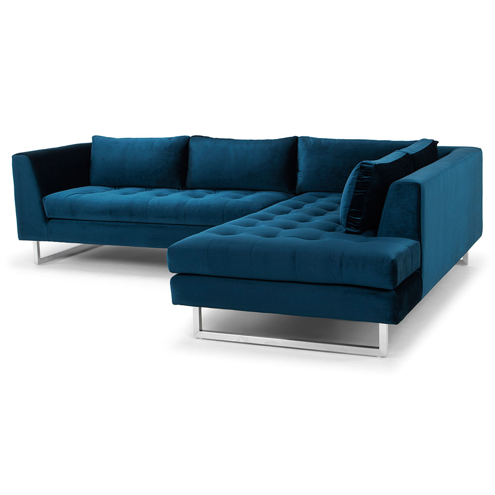 Blue Sectional Janis Right Facing Sectional Sofa Midnight Blue