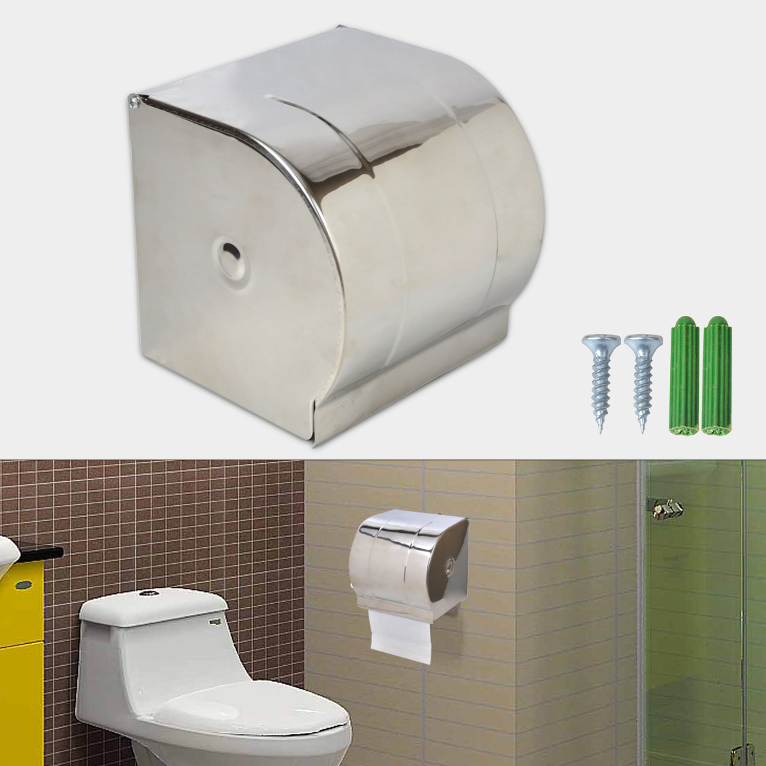 Tp Dispenser Stainless Steel Bathroom Toilet Paper Holder Roll Tissue
