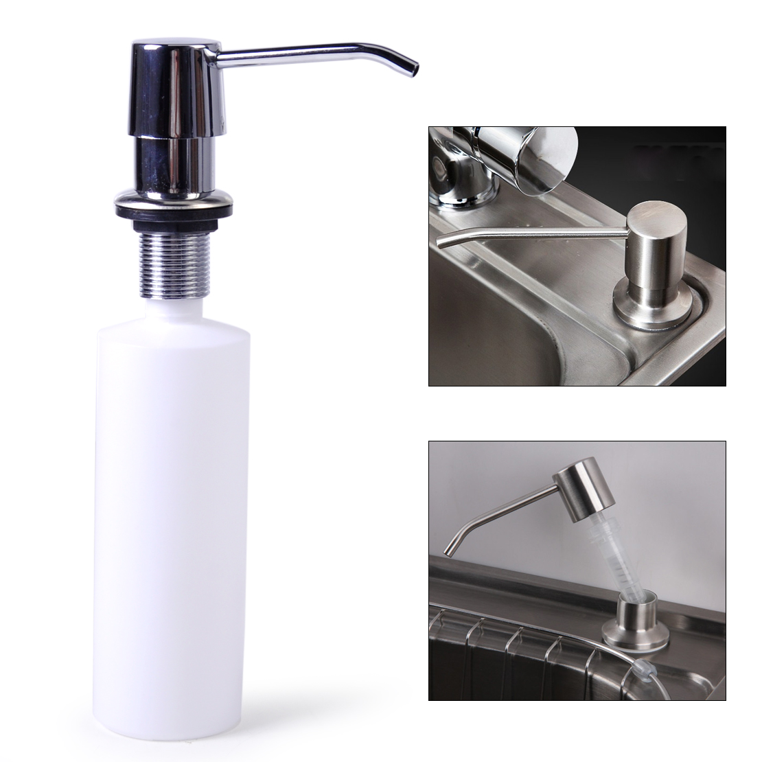 Hand Soap Bottle Holder Kitchen Bathroom Sink Soap Lotion Dispenser Stainless