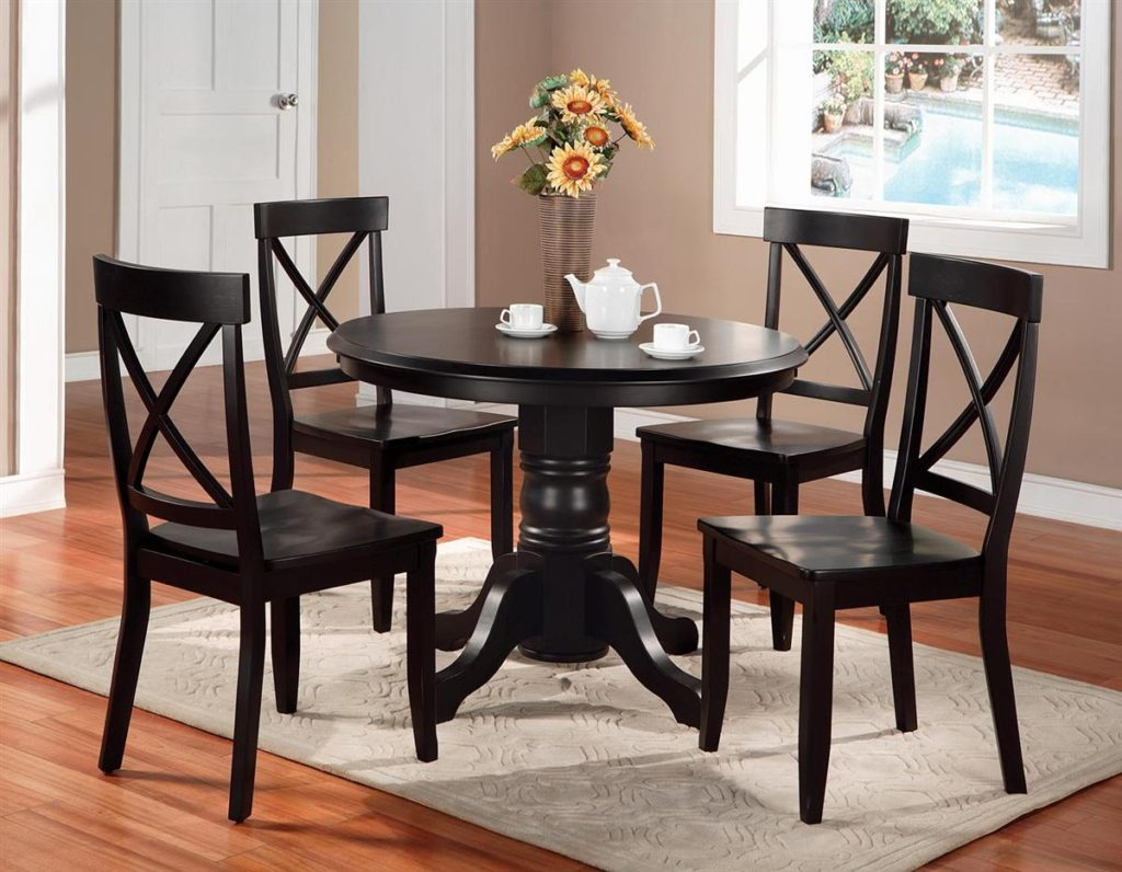 oak round dining table set for 4 small kitchen table set Round Dining Table Set 4 for Small Dining Room