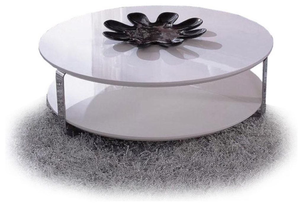 Round Modern White Coffee Table