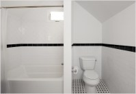Traditional Bathroom with Black and White Tile Floor