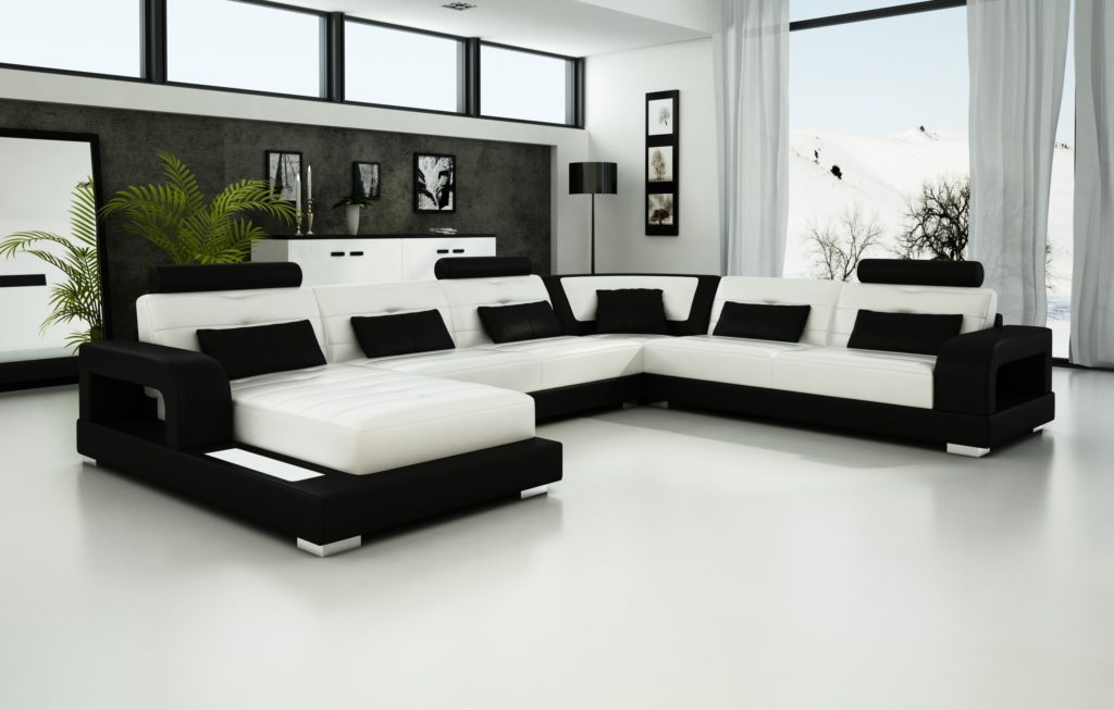 Black and White Sectional Leather Sofa for Modern Living Room - white sectional living room