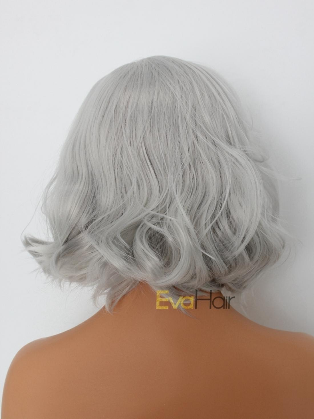 Bob Wig Frontal Silver Short Wavy Chin Length Synthetic Lace Front Wig