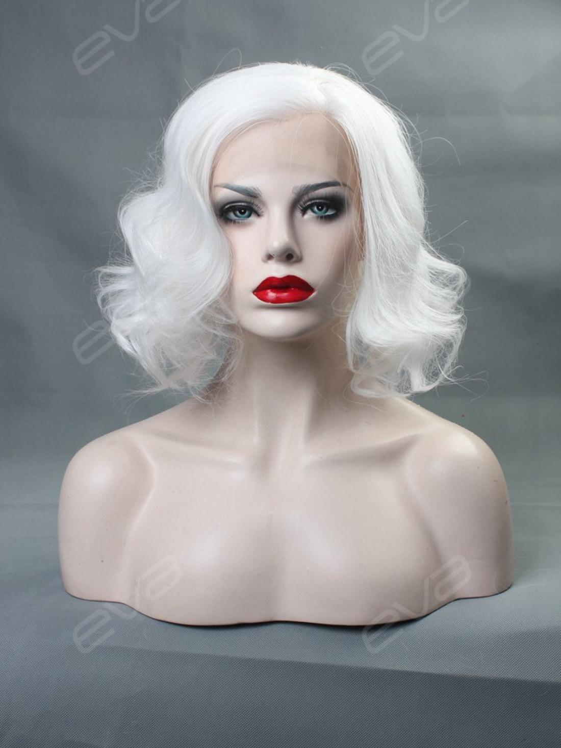 Bob Wigs Halloween Evahair White Wavy Bob Synthetic Lace Front Wig All