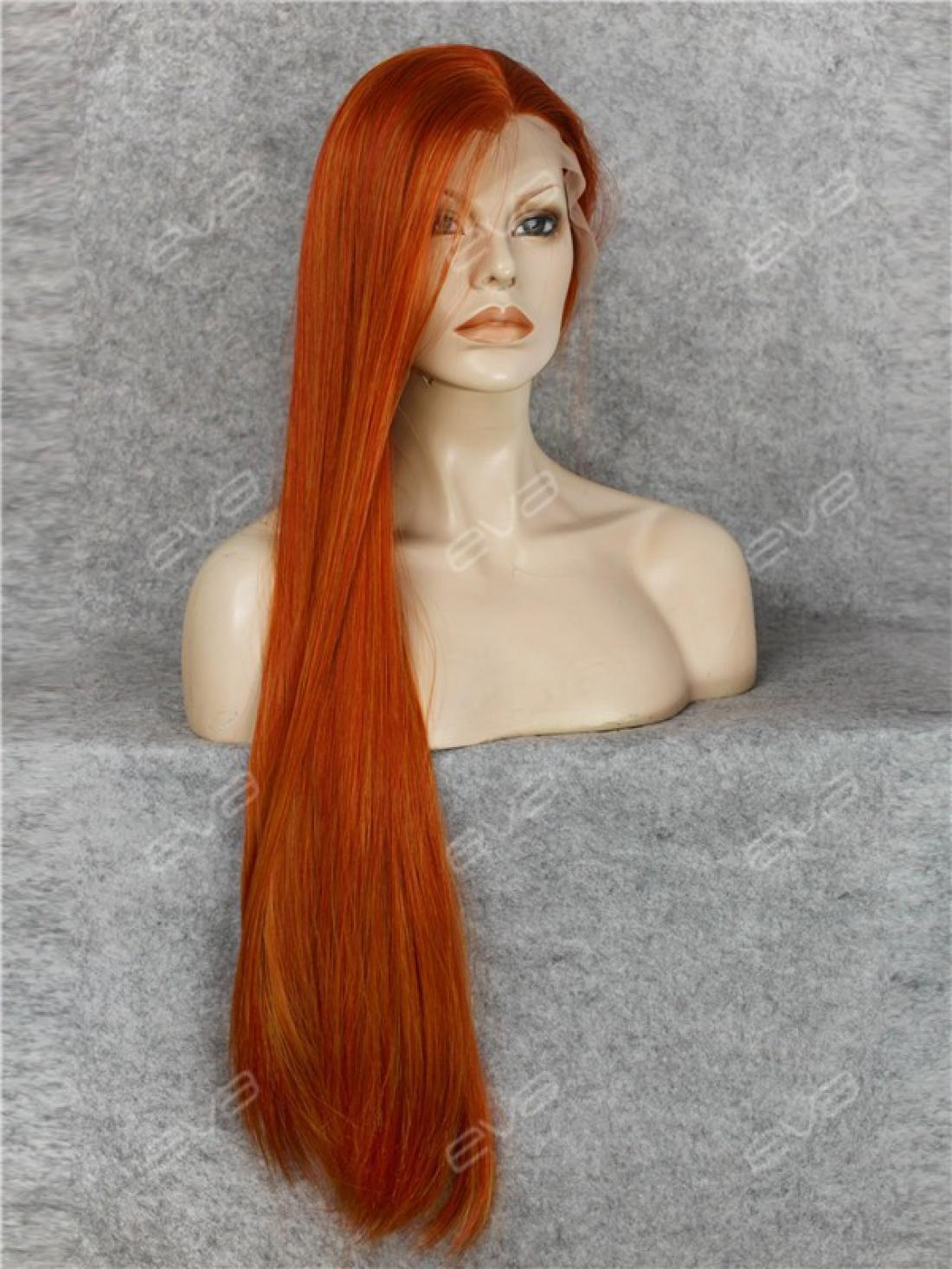 Orange Wig Bob Limited Super Long Dark Orange Reddish Brown Straight