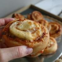 Pizzasnúðar með skinku og pepperoni
