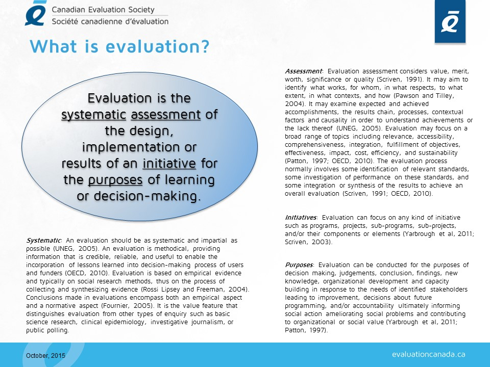What is Evaluation? evaluationcanadaca