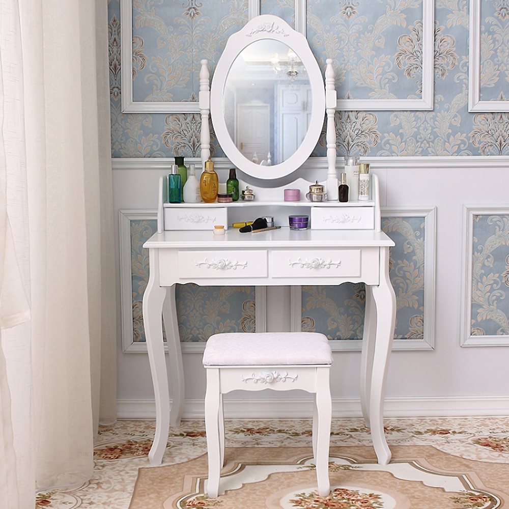 Girls Dressing Table Details About Vanity Jewelry Makeup Dressing Table Stool Set W 3 4 5 7 Drawers Wood Desk