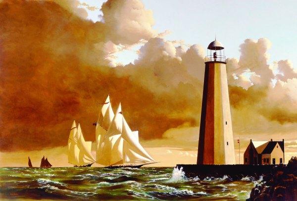 Yacht Race Near Lighthouse