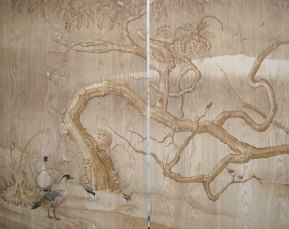 Painting on teak | Evans & Brown mural art