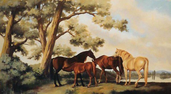 Equestrian scene, after Stubbs