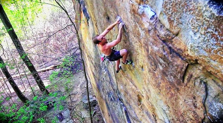 The author at the crux, where it's your choice of getting either a well-placed Ball Nut or enjoying a better grip.