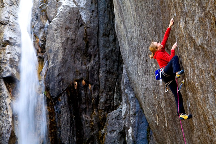 Beth Rodden on the first ascent of Meltdown (5.14c). Photo: Corey Rich.