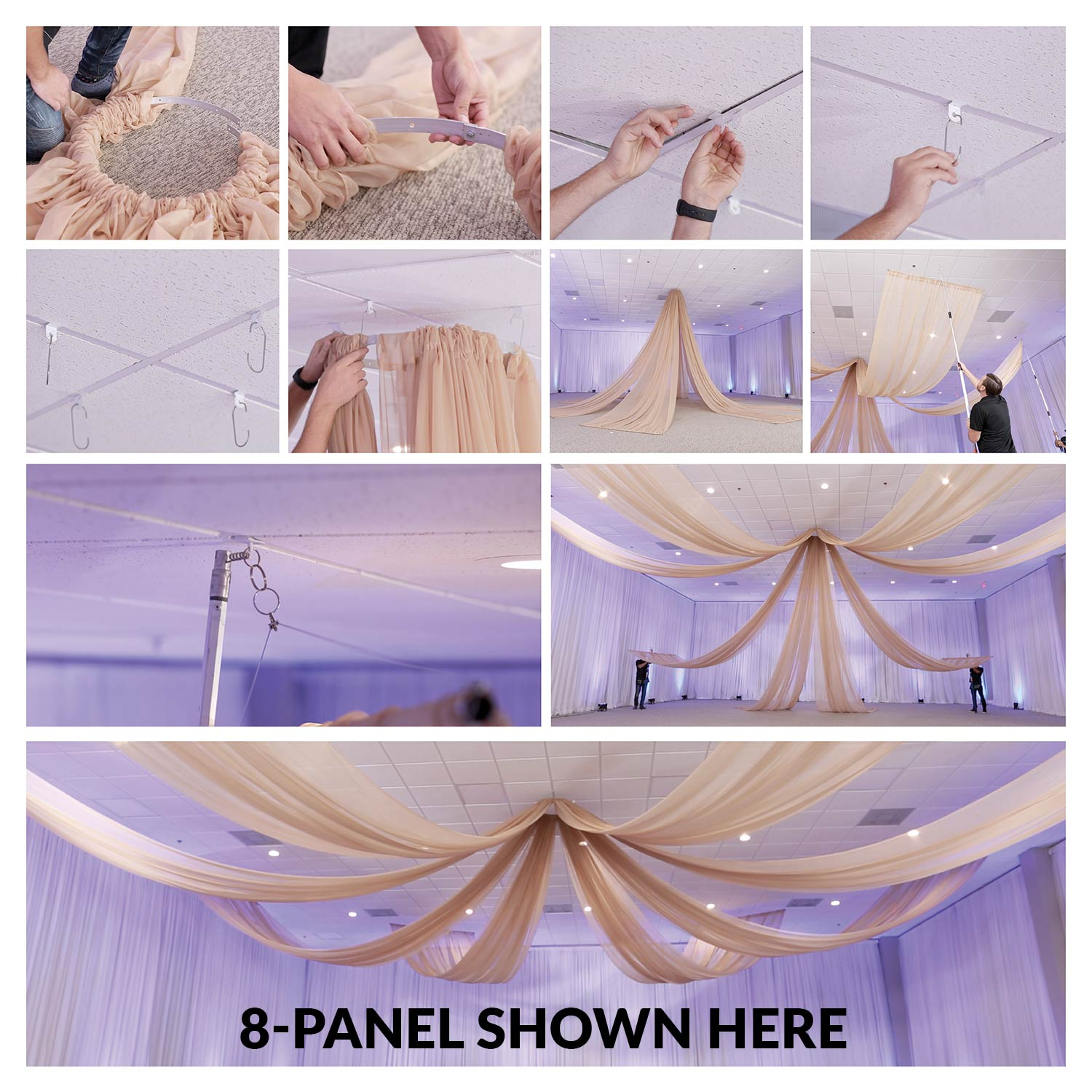 Draping Curtains 6 Panel 40ft Starburst Ceiling Draping Kit 82 Feet Wide
