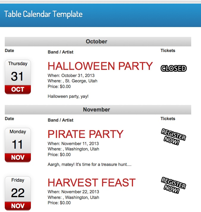 Events Calendar Table Template - WordPress Event Registration