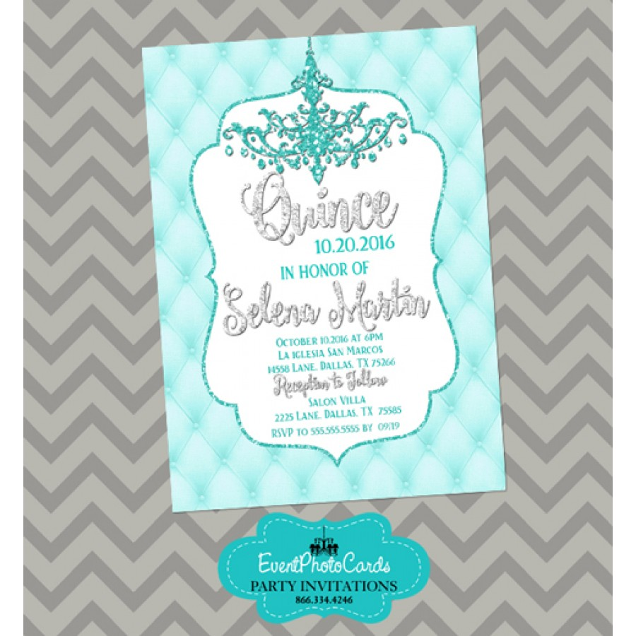 Invitation Card For Wedding Layout Turquoise Aqua Quince Invitations - Chandeleir Party Invites