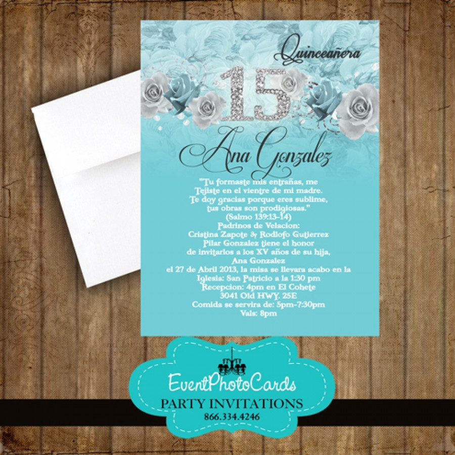 Invitation Card For Wedding Layout Aqua Floral Mis Quince, Sweet 15th Invites