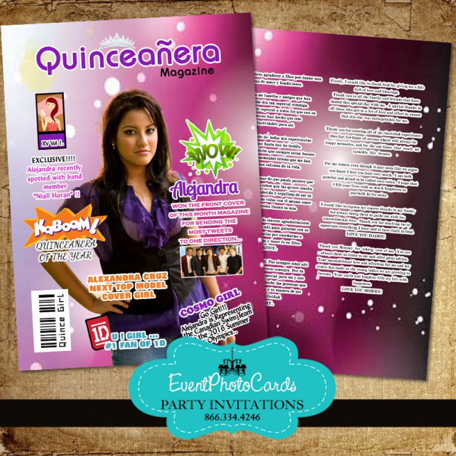 Invitation Card For Wedding Layout Magazine Cover - Quinceanera Invite